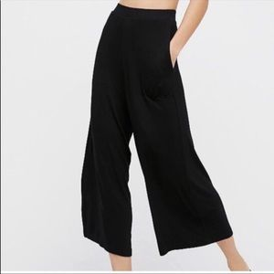 Free People | Wide Leg Cotton Palazzo Pants Black